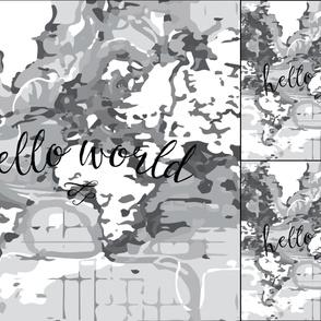 1 blanket + 2 loveys: monochrome hello world