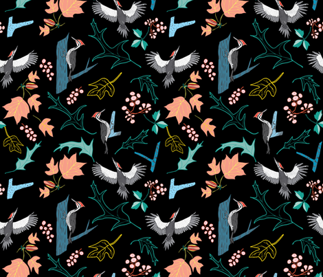Pileated— on black fabric by katie_hayes on Spoonflower - custom fabric