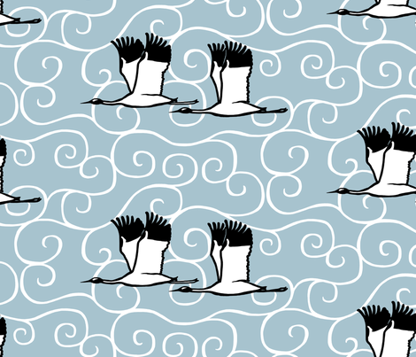 cranes and clouds - luck fabric by victorialasher on Spoonflower - custom fabric