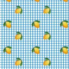 blue gingham w lemons