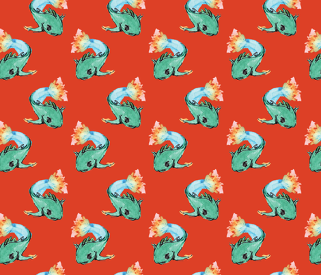 Flaming Fish- Spicy fabric by emmabrereton on Spoonflower - custom fabric
