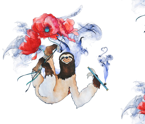 Opium Poppy Sloth fabric by ushermade on Spoonflower - custom fabric