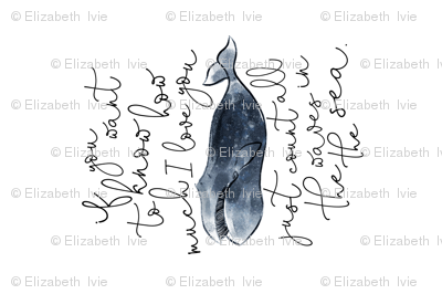 """if you want to know how much i love you // navy whale // centered on 18"""" of kona for pillow cover"""