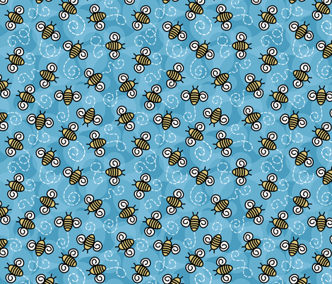 Bees and Blue skies. fabric by inklaura on Spoonflower - custom fabric