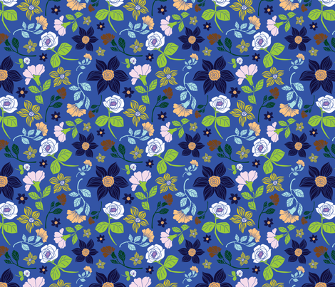 peonies and roses water fabric by margiecampbellsamuels on Spoonflower - custom fabric