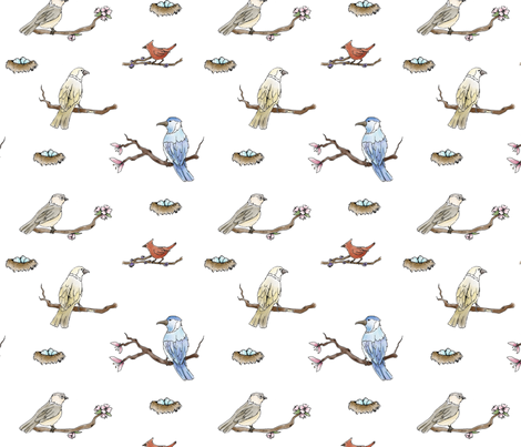 Spring Birds fabric by svaeth on Spoonflower - custom fabric