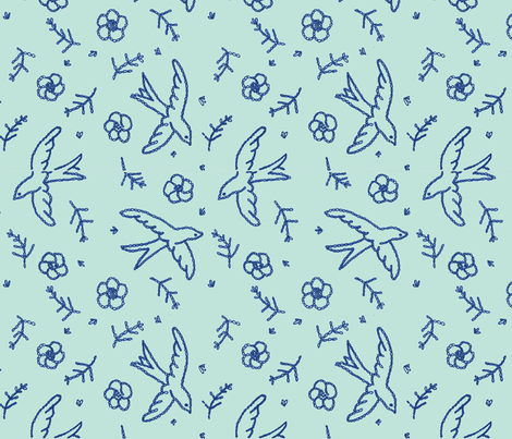 embroidered flight-green fabric by anywherelane on Spoonflower - custom fabric