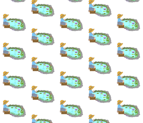 Fishing Pond blue fabric by karwilbedesigns on Spoonflower - custom fabric
