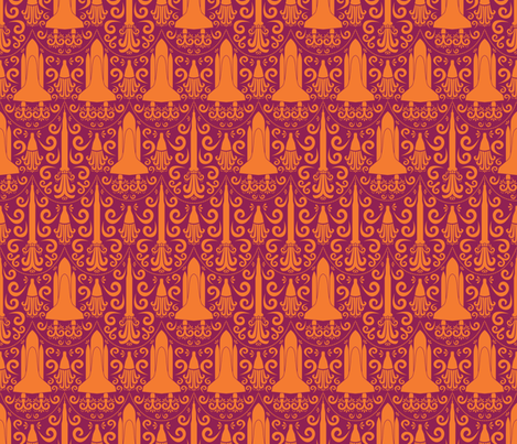 Rocket Science Damask (Maroon and Orange) fabric by robyriker on Spoonflower - custom fabric