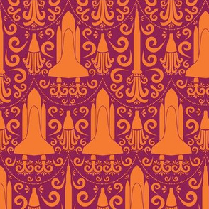 Rocket Science Damask (Maroon and Orange)