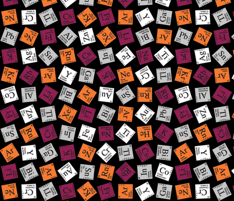 Topsy Turvy Periodic (Maroon and Orange) fabric by robyriker on Spoonflower - custom fabric