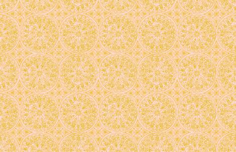Cycling Mandalas (gold-peach) fabric by helenpdesigns on Spoonflower - custom fabric
