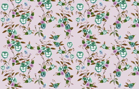PansiesPeonies_RussetGreen_DawnPink fabric by thistleandfox on Spoonflower - custom fabric
