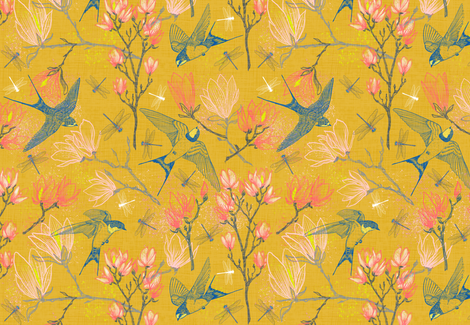 Golden Summer for Swallows & Magnolias  fabric by helenpdesigns on Spoonflower - custom fabric