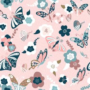 Beautiful Butterflies-Pink-Large