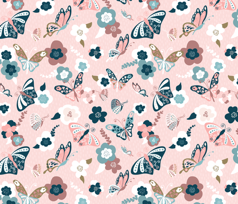Beautiful Butterflies-Pink-150 fabric by paula_ohreen_designs on Spoonflower - custom fabric