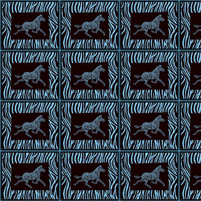 Zebra in black and turquoise