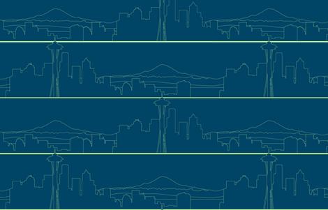 Seattle Skyline lime green on navy blue (L) fabric by nicoledobbins on Spoonflower - custom fabric