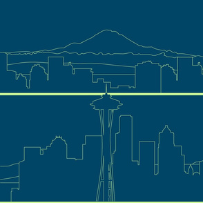 Seattle Skyline lime green on navy blue (L)
