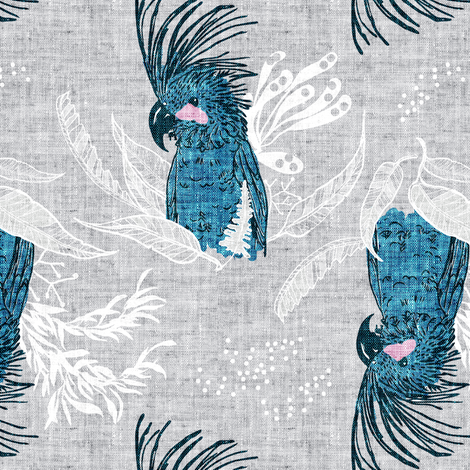 Terra Australis Cockatoos (MED) fabric by nouveau_bohemian on Spoonflower - custom fabric