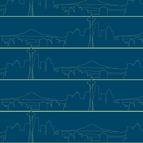 Seattle Skyline lime green on navy blue (S)