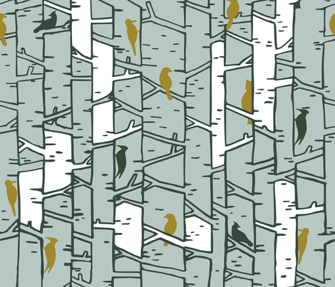 Birds and birches fabric by amy_maccready on Spoonflower - custom fabric