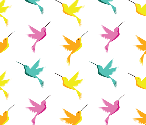 Bright & Busy Hummingbirds  fabric by spritelydesign on Spoonflower - custom fabric
