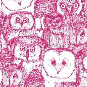 just owls pink white