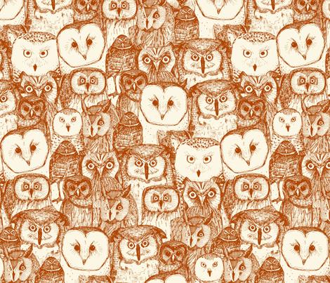 just owls rust pearl fabric by scrummy on Spoonflower - custom fabric