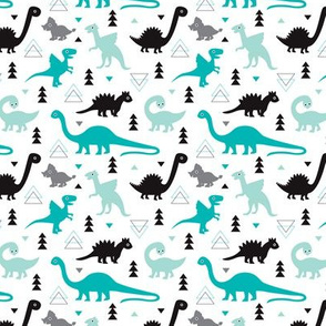 Adorable dino boys fabric with black and blue dinosaur geometric triangles and funky animal illustration theme for kids xs