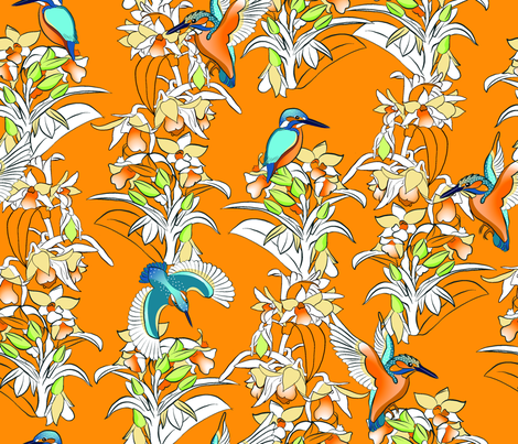 Kingfishers and Orchids fabric by cinz on Spoonflower - custom fabric