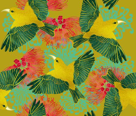Kauai Amakihi over Ohia Lehua Gold fabric by honoluludesign on Spoonflower - custom fabric