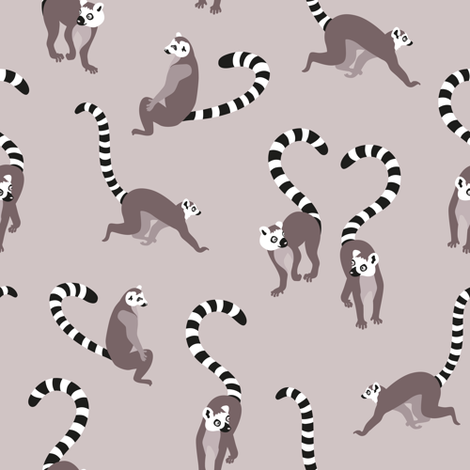 lemurlove_grey fabric by kasumidesign on Spoonflower - custom fabric