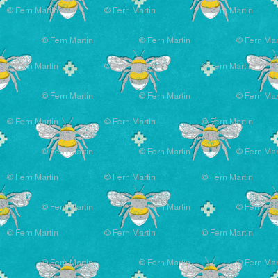 Bee Stamped Emblem on Turquoise