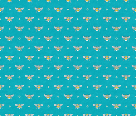 Bee Stamped Emblem on Turquoise fabric by thewellingtonboot on Spoonflower - custom fabric