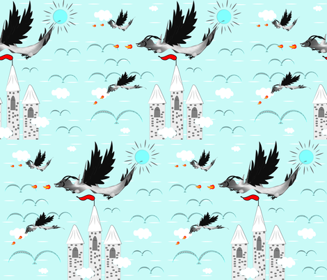 Dragons on a Sunny Day fabric by gracelillydesigns on Spoonflower - custom fabric