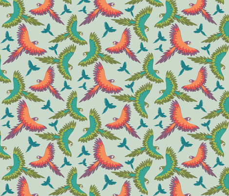 Parrots in the Air fabric by colour_angel_by_kv on Spoonflower - custom fabric