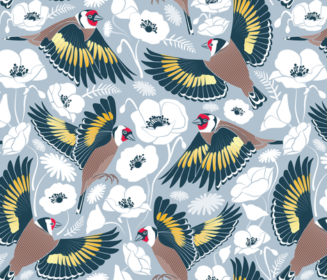 Goldfinches flying over white poppies // blue grey background fabric by selmacardoso on Spoonflower - custom fabric