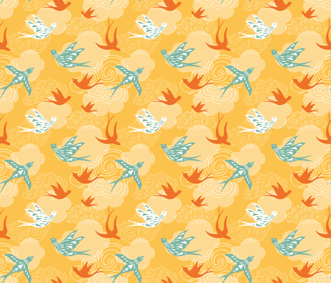 take to the sky - yellow fabric by vivdesign on Spoonflower - custom fabric
