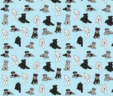 Cartoon Schnauzers on Blue Cloudy Background large fabric by olly's_corner on Spoonflower - custom fabric