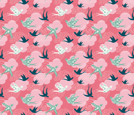 take to the sky - pink fabric by vivdesign on Spoonflower - custom fabric