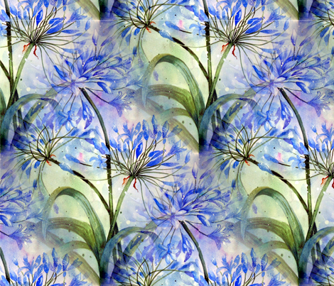 Always Agapanthus fabric by floramoon on Spoonflower - custom fabric