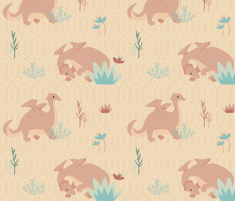 Dragons Garden pink Blush fabric by paperondesign on Spoonflower - custom fabric