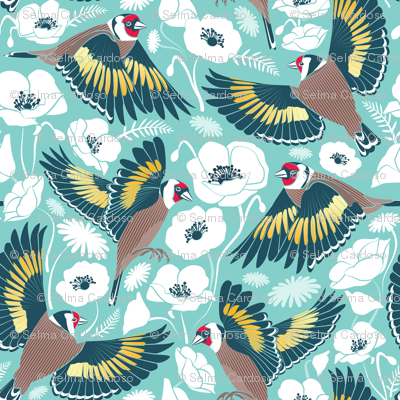 Goldfinches flying over white poppies // aqua background navy and yellow birds