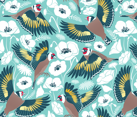 Goldfinches flying over white poppies // aqua background navy and yellow birds fabric by selmacardoso on Spoonflower - custom fabric