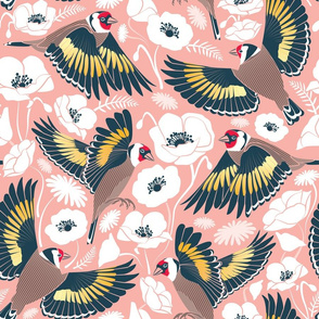Goldfinches flying over white poppies // flesh background navy and yellow birds