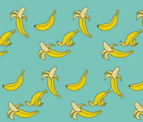 Bananas - BlueGreen fabric by kamilla on Spoonflower - custom fabric