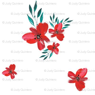 """2"""" Celebration Deer - Red Florals"""