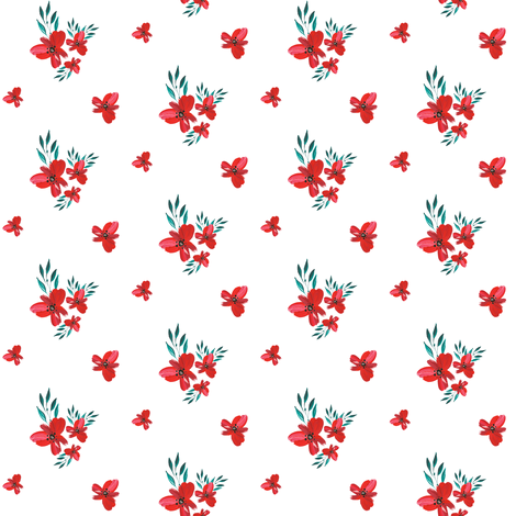 "2"" Celebration Deer - Red Florals fabric by shopcabin on Spoonflower - custom fabric"