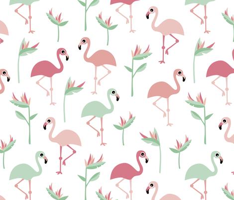 Birds of paradise botanical flower garden and flamingo beach Hawaii summer theme pink mint jumbo fabric by littlesmilemakers on Spoonflower - custom fabric